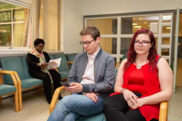 Patients in hospital waiting room