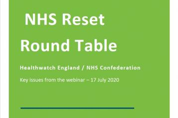 front page - NHS Reset Round Table report