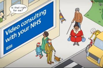 Illustration of a street with billboard saying 'Video consulting with your NHS'