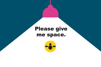 Spotlight graphic with the 'Please Give Me Space' branding
