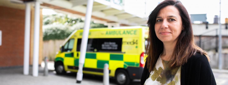 lady standing by ambulance