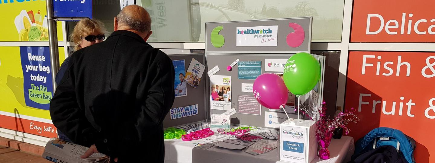 Cheryl at stand Healthwatch West Sussex