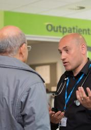 Doctor speaking to a patient in an outpatient clinic
