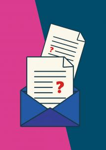 Letters coming out of an envelope with question marks